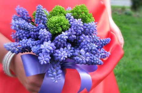Blue Muscari Bridesmaid Bouquet