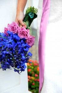 Blue Delphiniums and Purple Roses