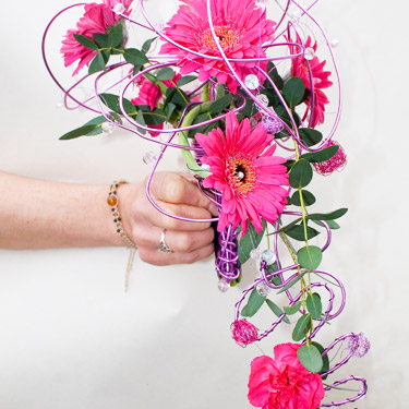 Pink Gerbera Wire Bouquet