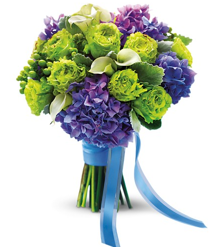 Green Roses and Purple Hydrangeas