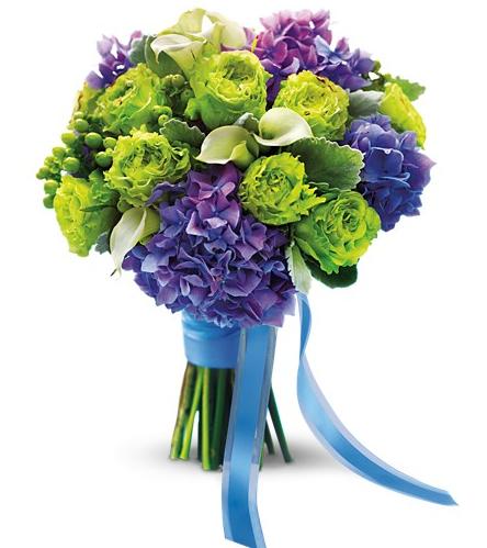 Green Roses and Purple Hydrangeas