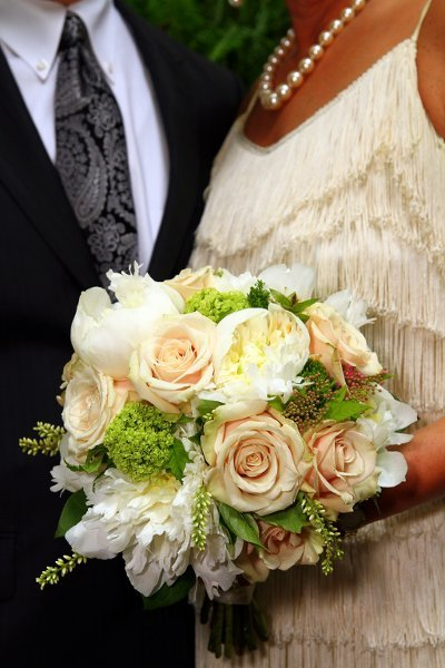 Pastel orange white and green bouquet wedding flower source mightylinksfo