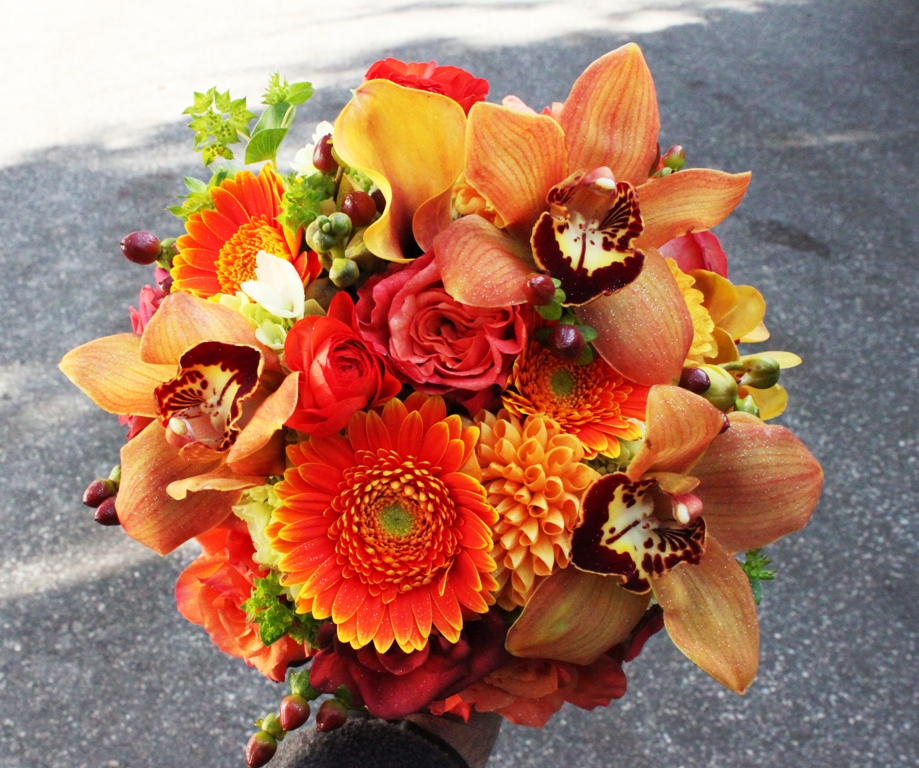 Orange Flower Arrangements For Weddings: Warm Autumn Hued Bridesmaid Bouquets