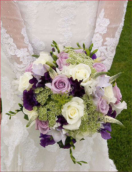 Purple Green And White Blooms Bouquet Wedding Flower