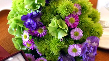 Bright Green, Purple and Pink Bouquet