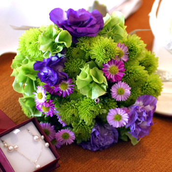 Bright Green, Purple and Pink Bouquet - Bouquet Wedding Flower