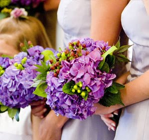 Purple Hydrangeas Bridesmaids