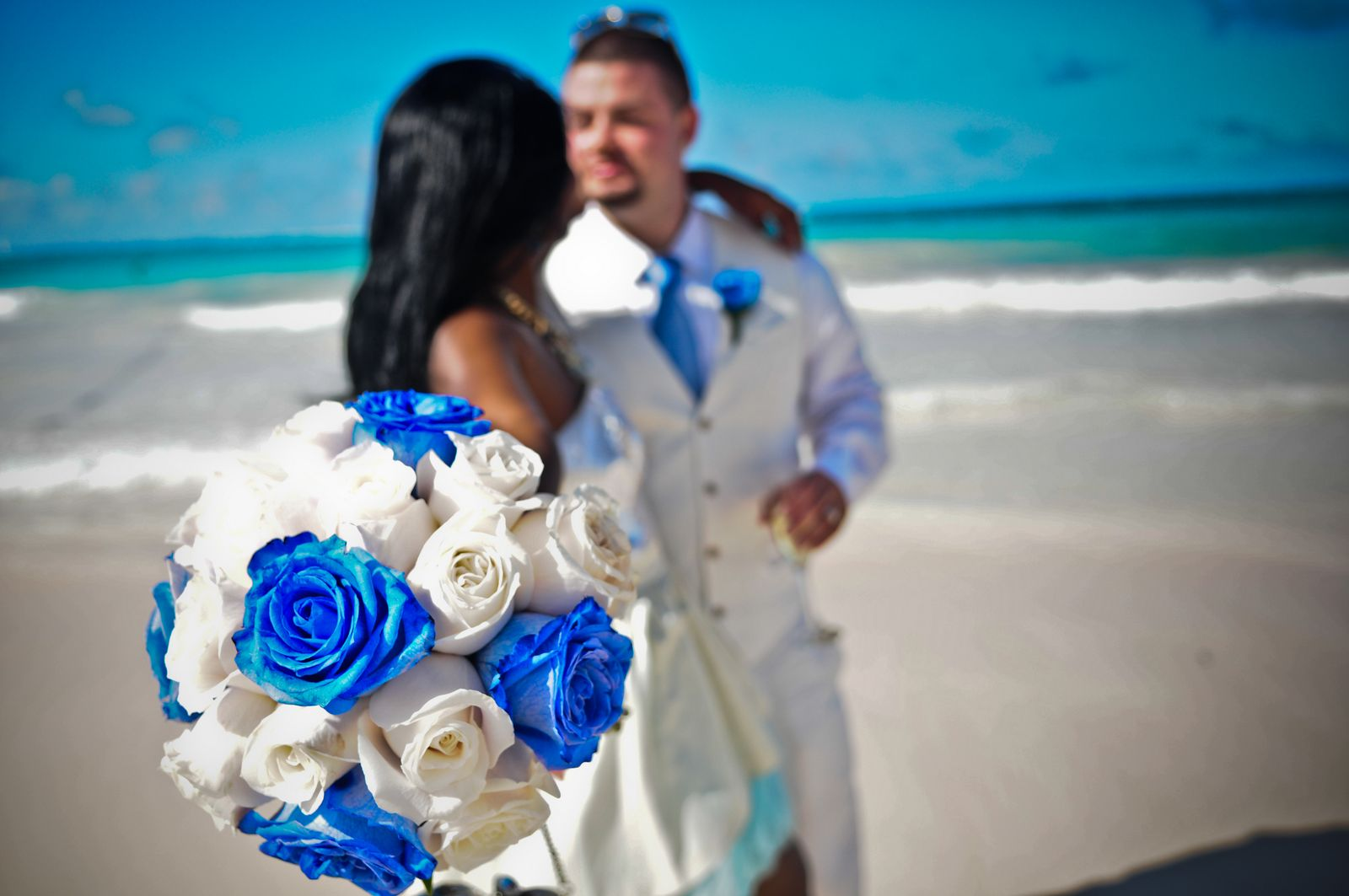 Blue White Roses Bouquet Wedding Flower