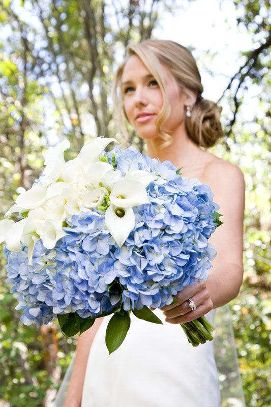 blue flower wedding bouquets