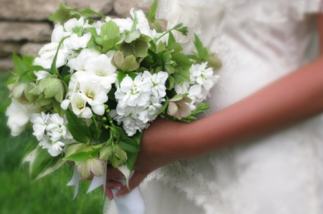 Freesia and Hydrangea White Bouquet