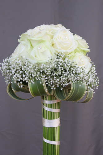 White Roses with Baby's Breath