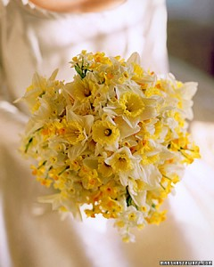 bridal bouquet made of daffodils