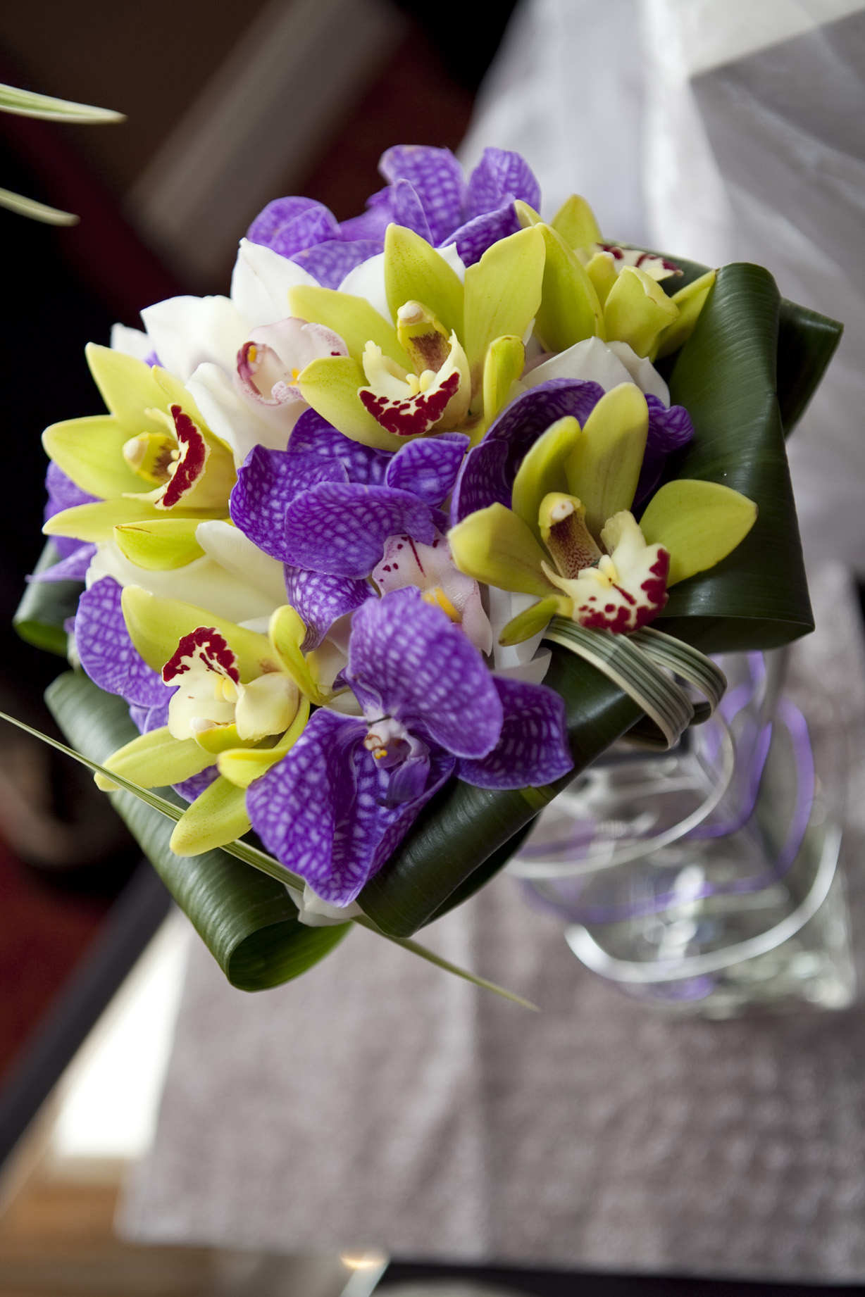 Orchids three colors bouquet wedding flower purple and green bouquet izmirmasajfo