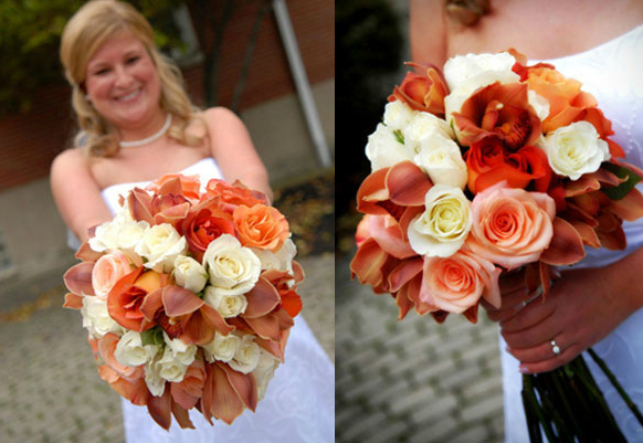 white orange roses orchids bouquet