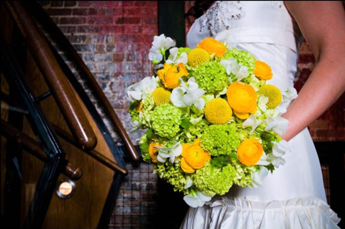 green and yellow bridal bouquet