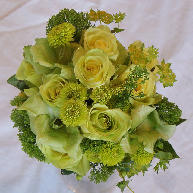 green roses bouqet