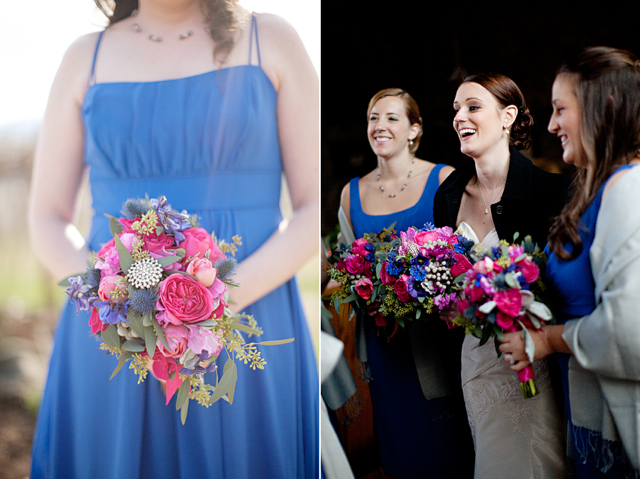 pink blue bridesmaid bouquet