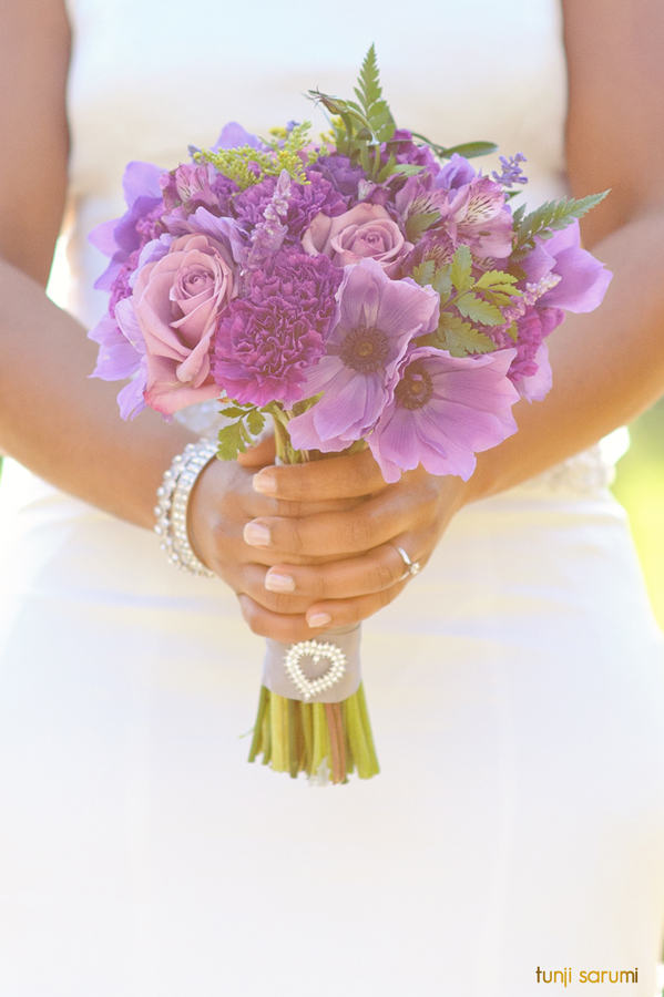 purple bouquet for bride