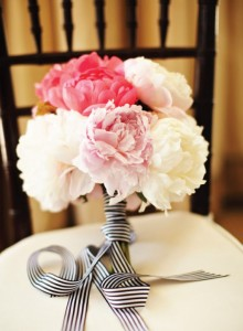 Peony Bridal Bouquet with Stripes