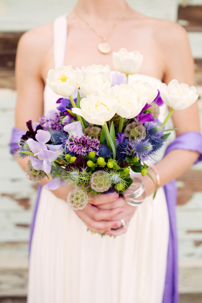 Blue Purple And White Wedding Flowers Tulips Bouquet Flower