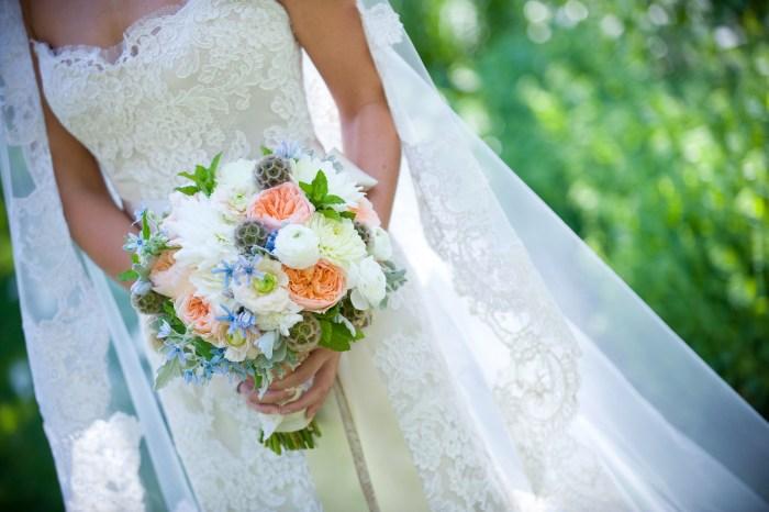 White, Blue, Orange and Purple Bouquet