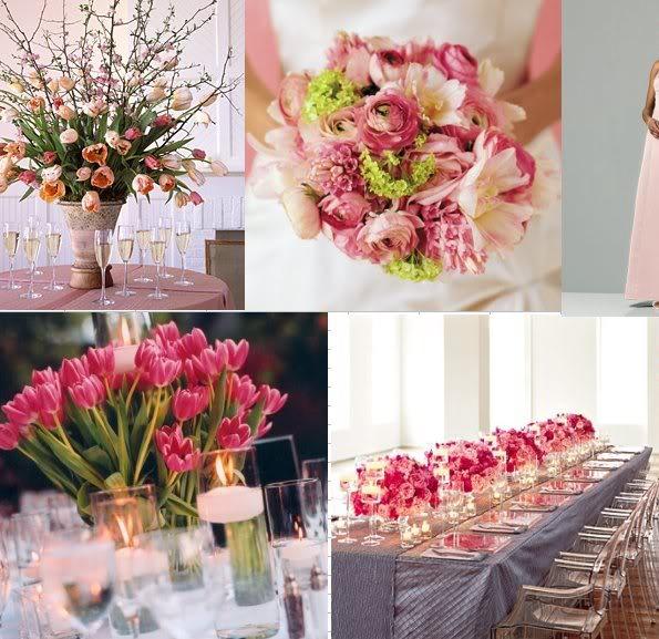 Pink Tulips Centerpiece Wedding 2 Bouquet Wedding Flower