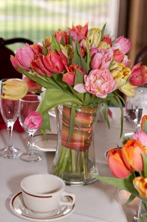 Pink Yellow Parrot Tulips Centerpieces Bouquet Wedding Flower