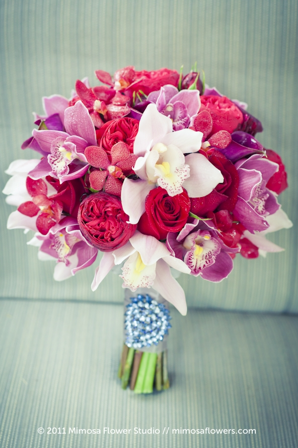 Tagged pink purple and white bouquet Pink Ranunculus Purple Orchids