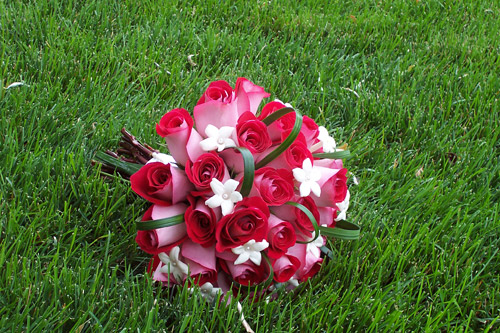 Red and White Bride Bouquet
