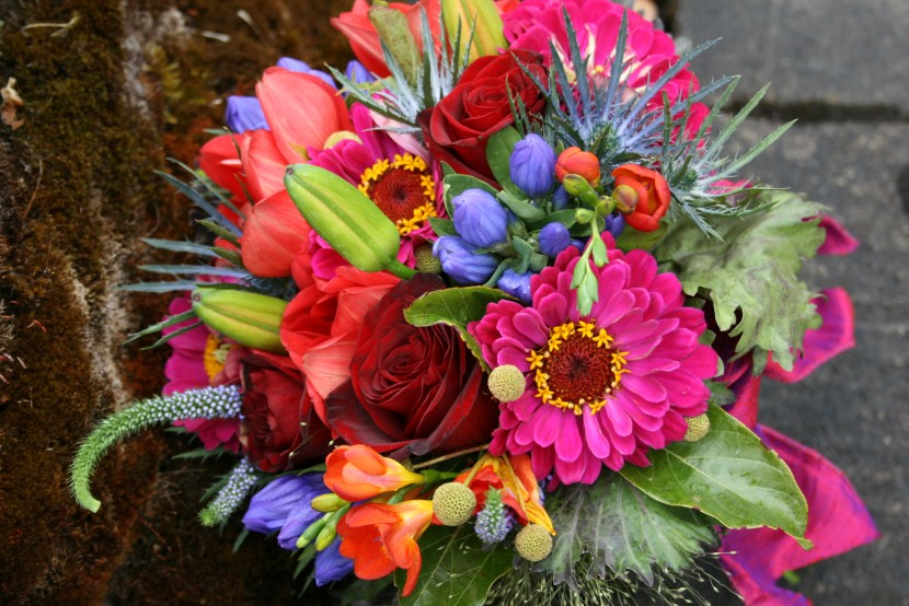 Bright almost neon colors used in this fun and cheerful wedding bouquet