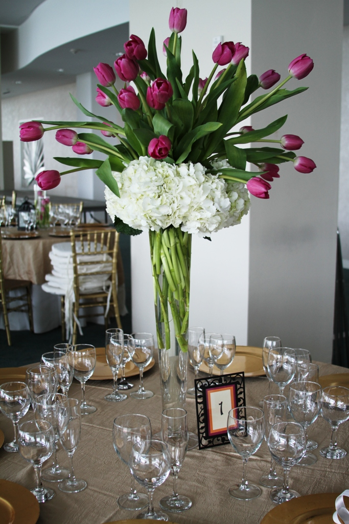 White Hydrangea Purple Tulips Centerpieces Bouquet