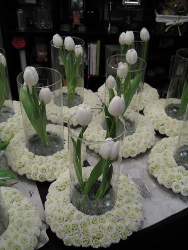 White Tulip Wedding Centerpieces 2 Bouquet Wedding Flower