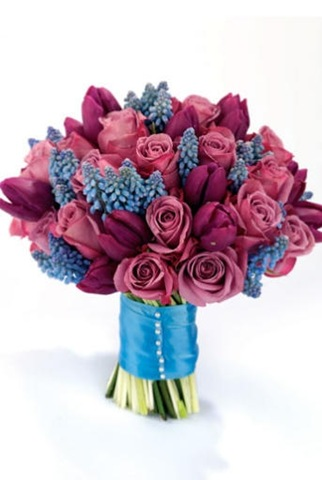 Roses, Tulips and Muscari Bouquet