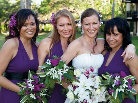 Plum Purple Cascading Bouquet White And Calla Liles