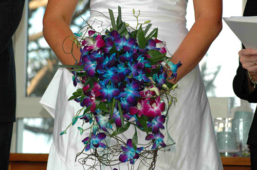Blue Orchids Round Cascade-bridal-bouquet