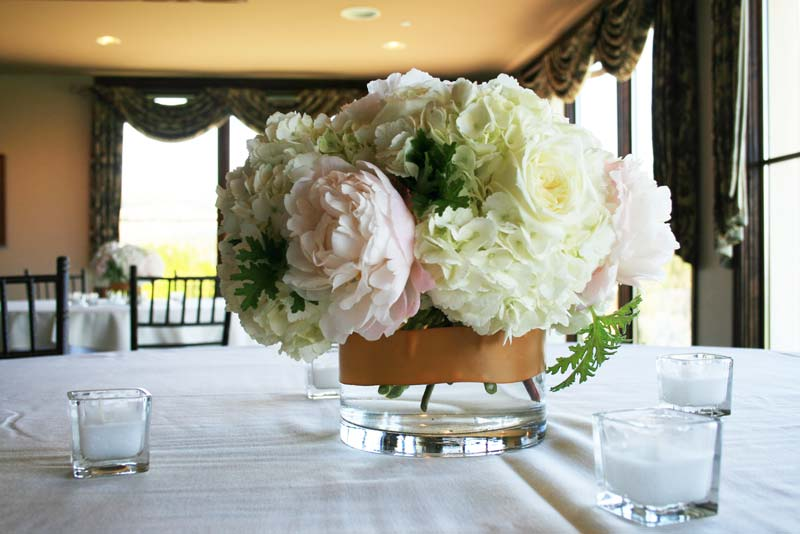 Hydrangea and peony centerpieces bouquet wedding flower