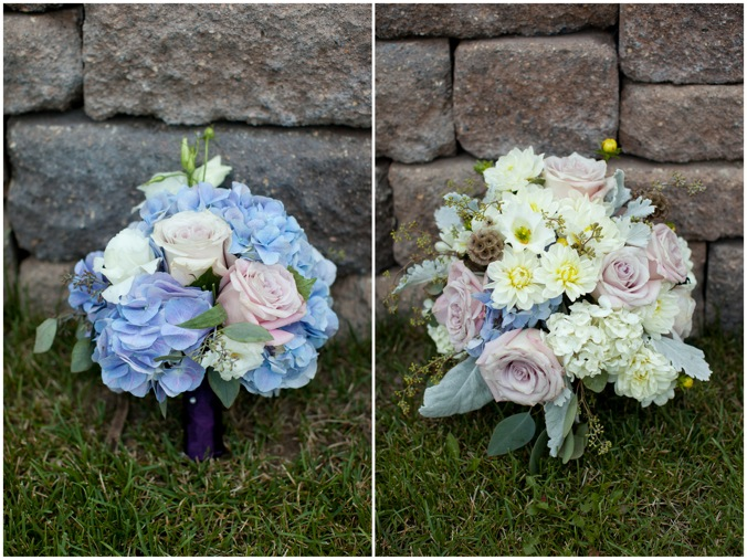 Bridesmaids bouquets mainly feature blue hydrangeas