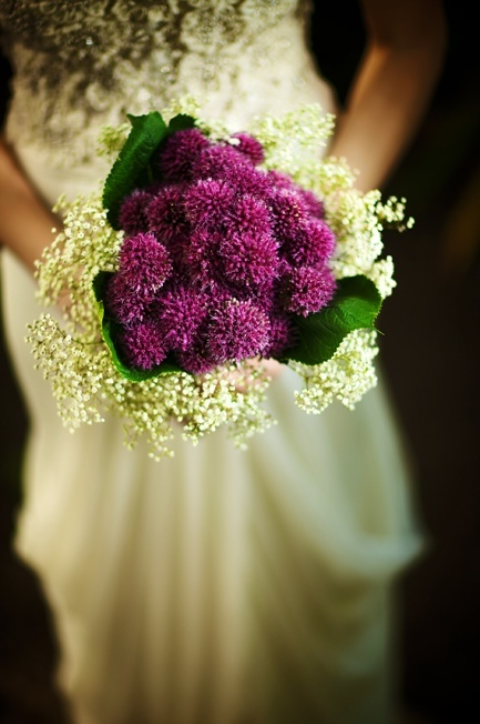 purple white wedding flower