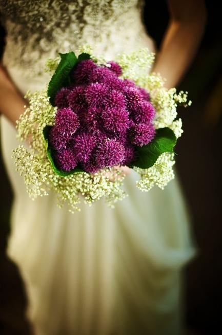 purple white wedding flower