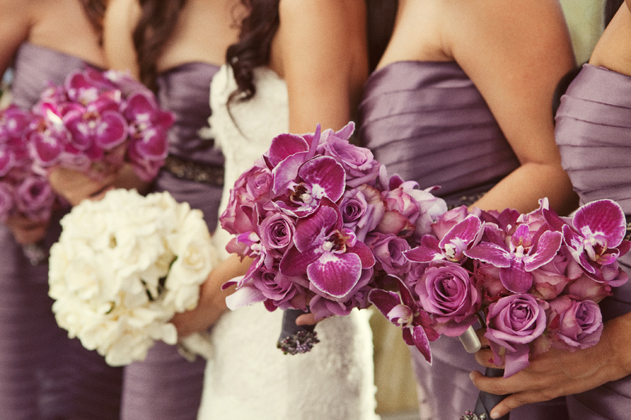 purple-roses-orchids-bridesmaids-bouquets