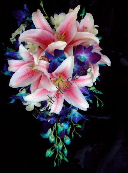 blue-orchids-pink-lily-bouquet