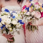blue-pink-bridesmaid-and-brides-bouquet