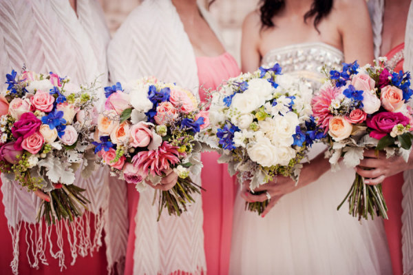 Bouquets in Blue, White, Pink