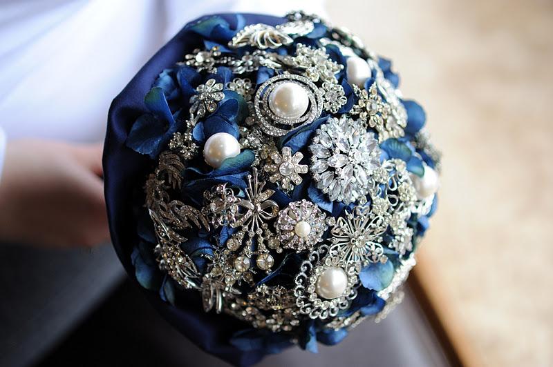 blue broach bouquet