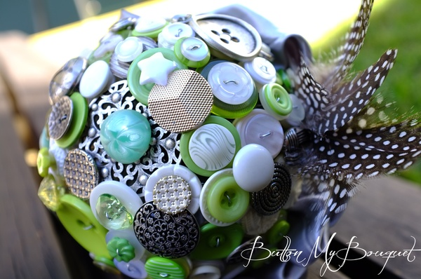 blue green button bouquet