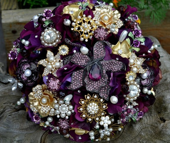 purple broach bouquet