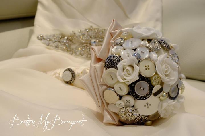 white button bride bouquet