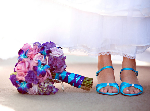 Blue Orchids and Lavender Roses Bouquet - Bouquet Wedding Flower