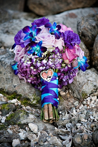 Blue Orchids and Lavender Roses Bouquet