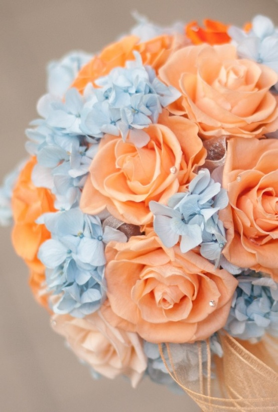 blue and orange bouquet